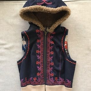 Free People Cropped Faux Fur Embroidered hood Vest